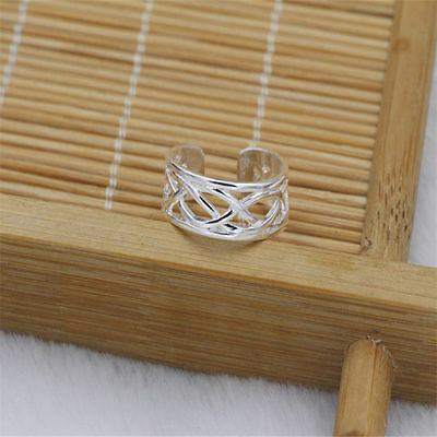 New 925 Silver Plated Cross Wire Adjustable Toe Ring Foot Jewelry Women UK