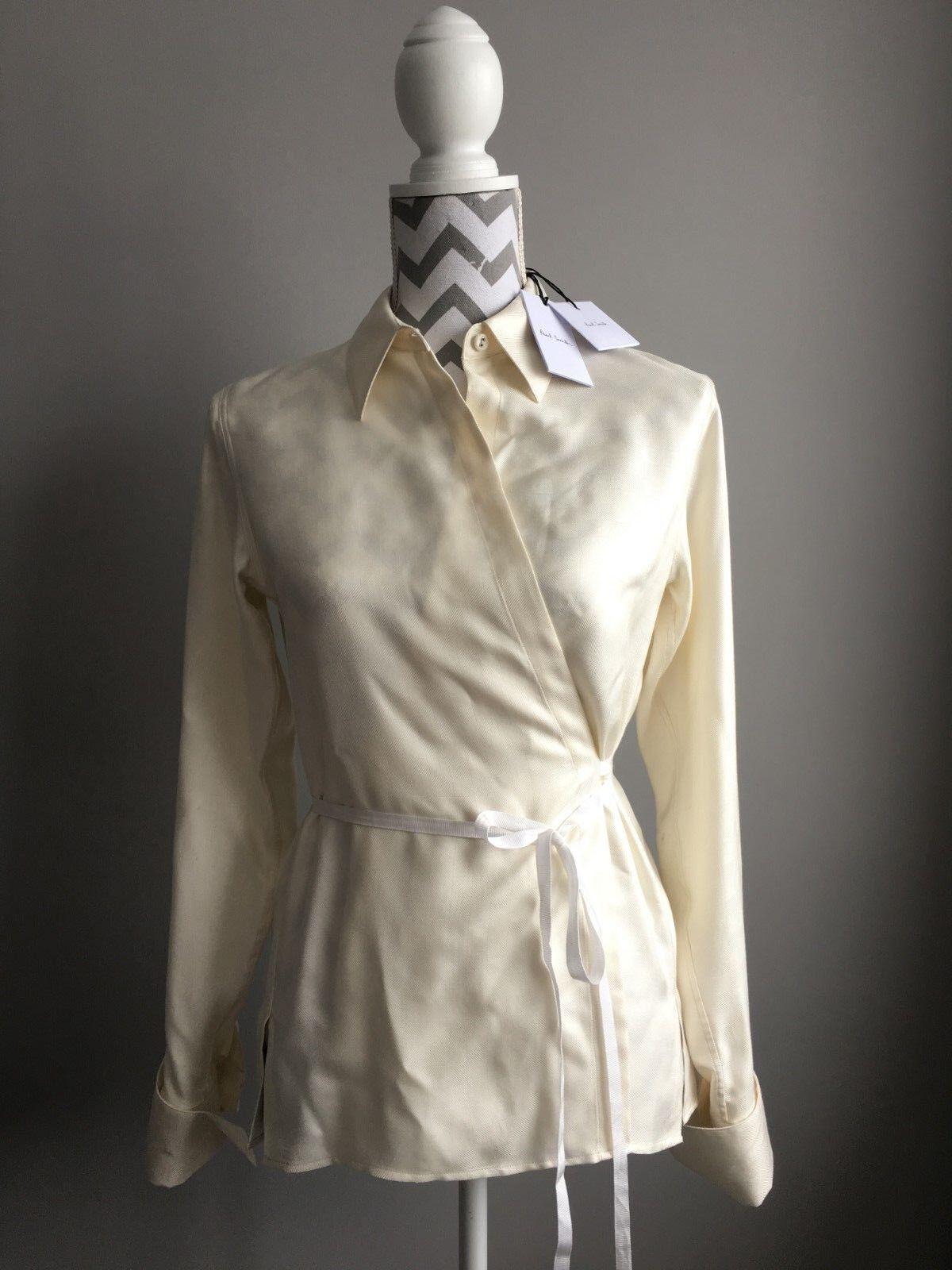 BNWT Damenschuhe Designer Paul Smith 100% silk cream wrap shirt 38