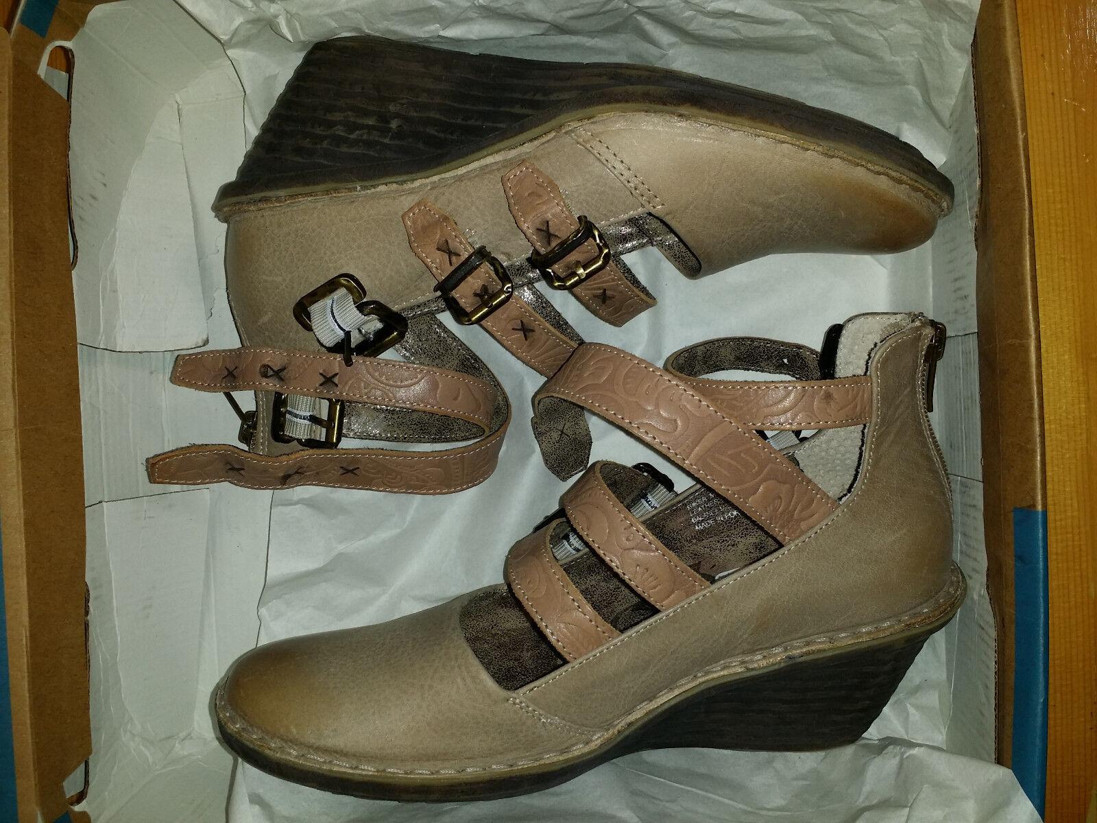 140 NEW Womens 6.5M 6.5M 6.5M EUR 37 OTBT Mary Jane Biker Wedge Sandals Pecan ea5799