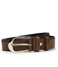 Dress full grain belt on brown vegan leather with an oval buckle...