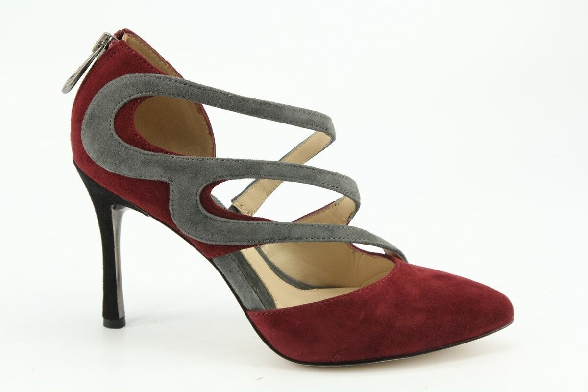 $255 NEW Carolinna Espinosa Light Wine & Grey Suede Pumps size 6.5 / 37 10 / 42