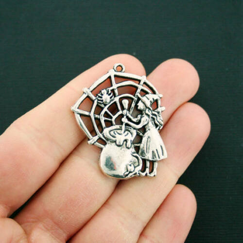 SC2993 2 Witch Charms Antique Silver Tone Cauldron and Spiderweb