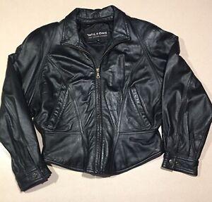 d2039c002 Details about VINTAGE Wilsons Leather Womens Black Short Motorcycle Jacket  Size M Medium