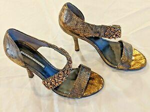 Vera Wang Lavender brown & gold open toe snakeskin heels, size 5.5, Great Shape!