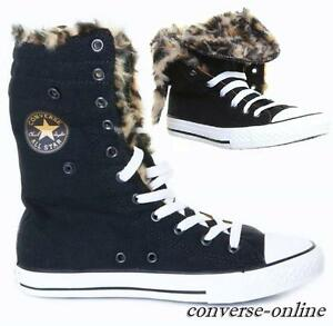 Details zu KIDS Girls CONVERSE All Star KNEE HI FUR Black LEOPARD Trainers  Boots UK SIZE 11