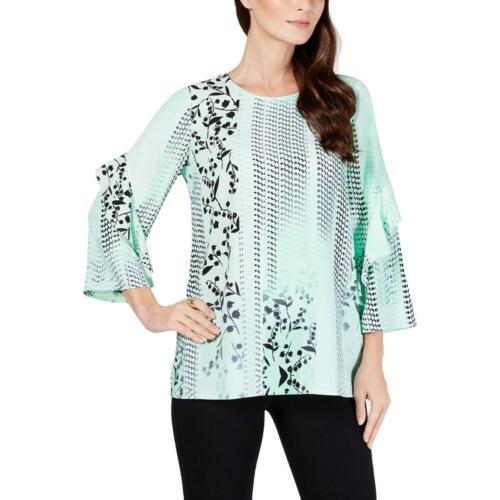 Alfani Womens Printed Scoop Neck Flounce Sleeves Blouse Shirt BHFO 5561