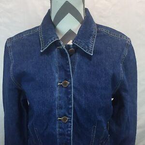 Caribbean Joe Womens  Button Front Med Wash Denim Blue Jean Jacket Small G18