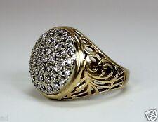 Vintage 10K Yellow Gold Mens Diamond Cluster Ring 1.4ctw Diamonds wCutouts Sz 11