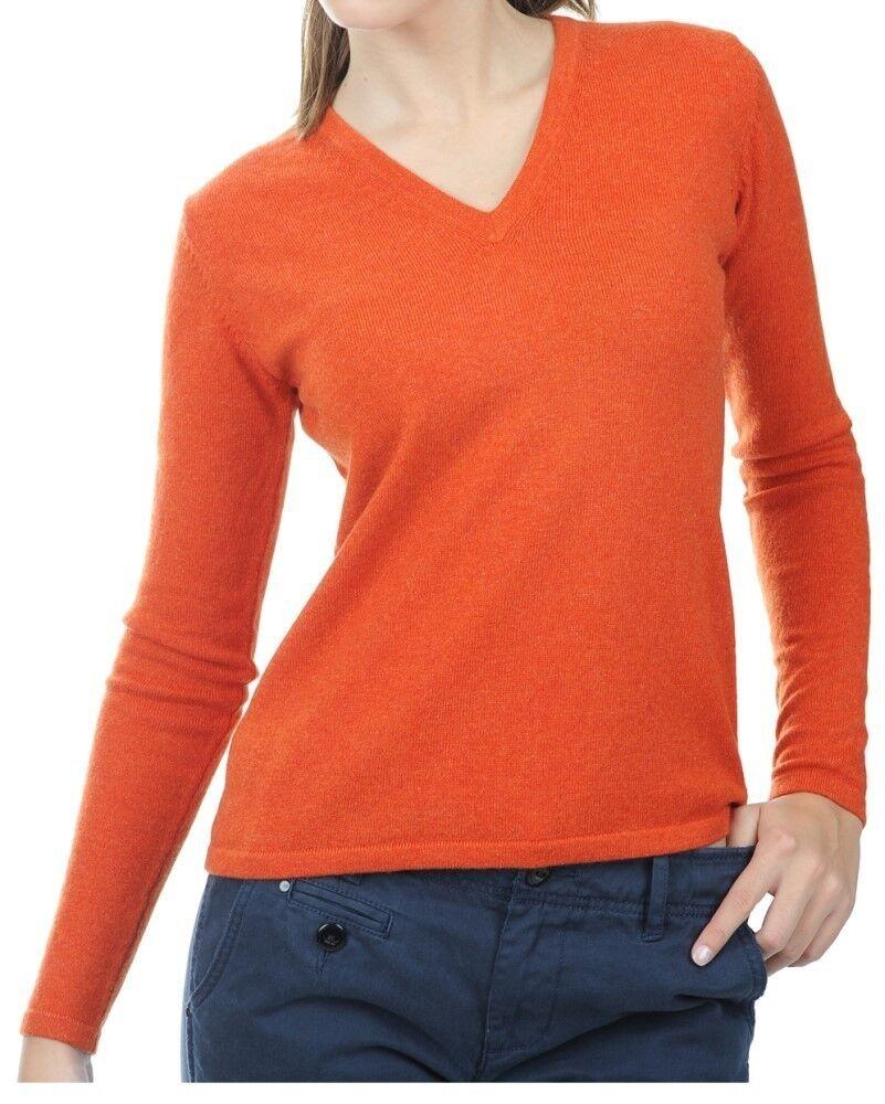 Balldiri 100% Cashmere Damen Pullover 2-fädig V-Ausschnitt dunkles Orange XL