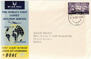 SOUTH AFRICA FFC 1952 LONDON TO JOHANESBURG MAILED TO UGANDA LOT 4