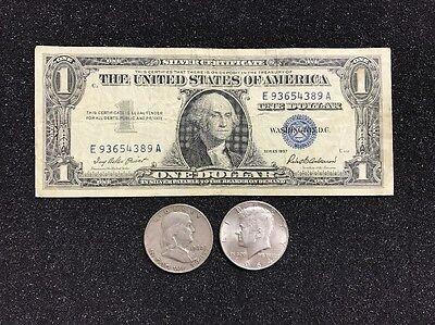 $1.00 1935 Silver Certificate /& Kennedy Half OLD COINS!! Franklin Half