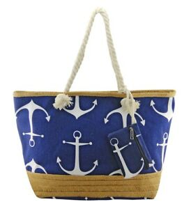 Large-Blue-Beach-Bag-Rope-Handle-Red-Anchor-Holiday-XL-Bags-Canvas-Straw-Base