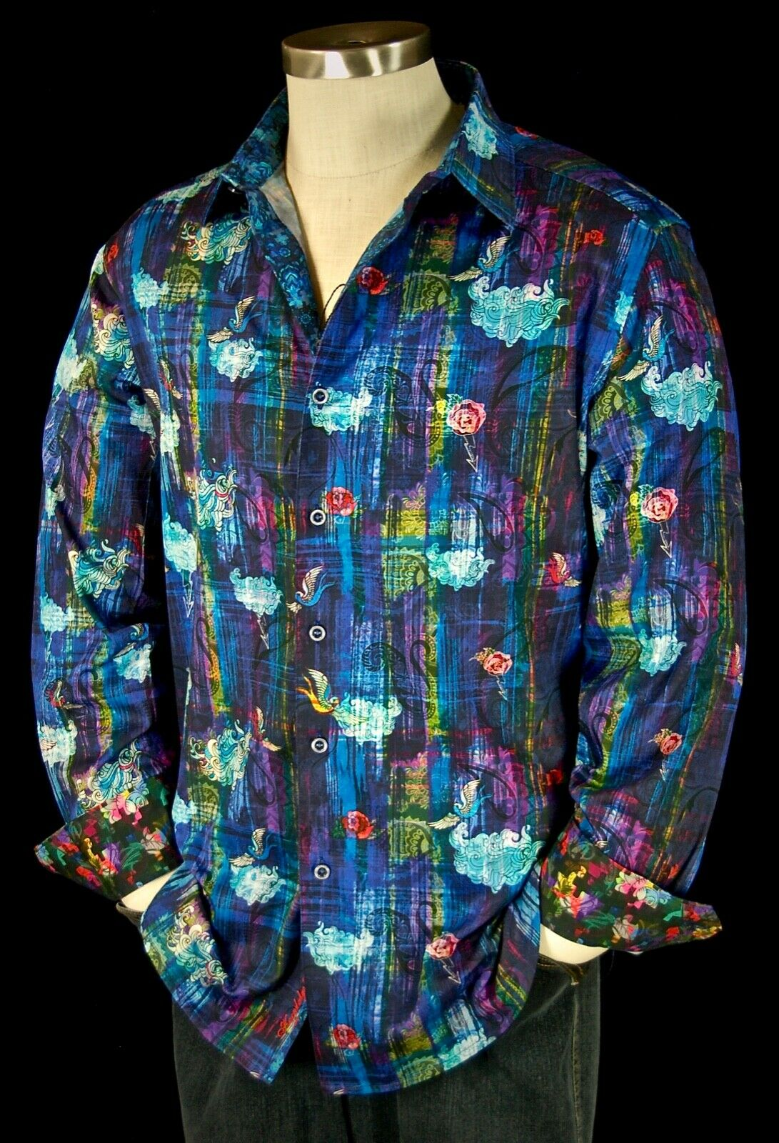 Robert Graham 'Kiva' NWT  Rare bluee Masterpiece Sports Shirt 2XL