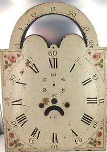RARE-LATE-1700-S-EARLY-1800-S-ROLLING-MOON-GRANDFATHER-LONGCASE-ENAMEL-DIAL