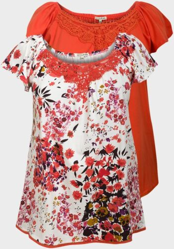 Mesdames top Tommy /& Kate superbe qualité 12-14 16-18 20-22 orange /& motif floral orange