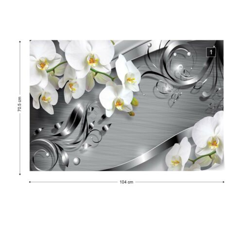 Wall Mural Photo Wallpaper Pictures EASY-INSTALL Fleece Flowers Orchids Silver
