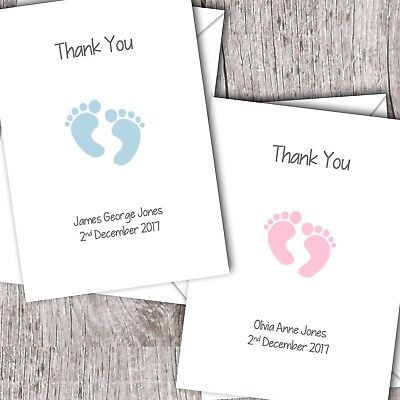 Folded Personalised Baby Thank You Cards//Christening ~ Boy//Girl ~ Footprints D57