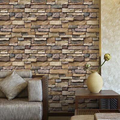 10x 3D Brick Stone Self Adhesive Wallpaper Sofa Background TV Wall Decor