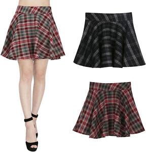 Black-Red-Check-Plaid-Tartan-Schoolgirl-Style-High-waisted-Skirt-Skater-Women