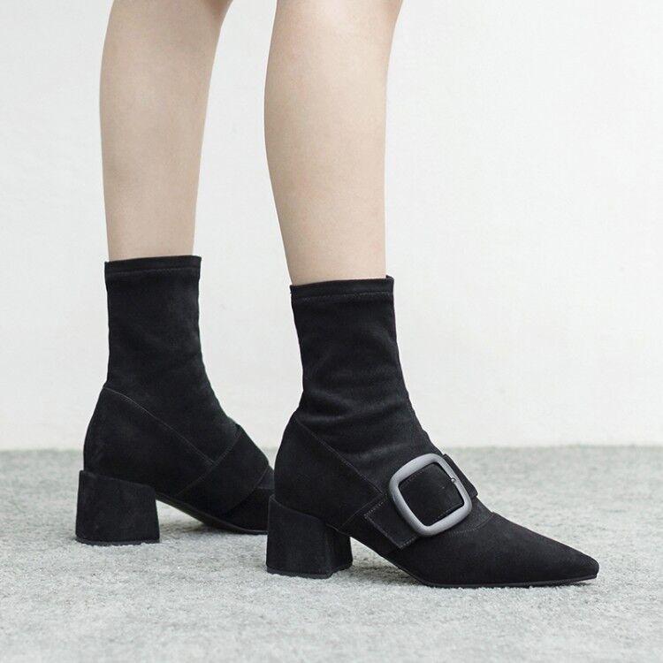 Nuevo Para mujeres Hebilla De Correa De Gamuza Puntera Puntera Puntera puntiaguda Sexy Damas ol Zapatos De Invierno Zapatos Talla  los últimos modelos