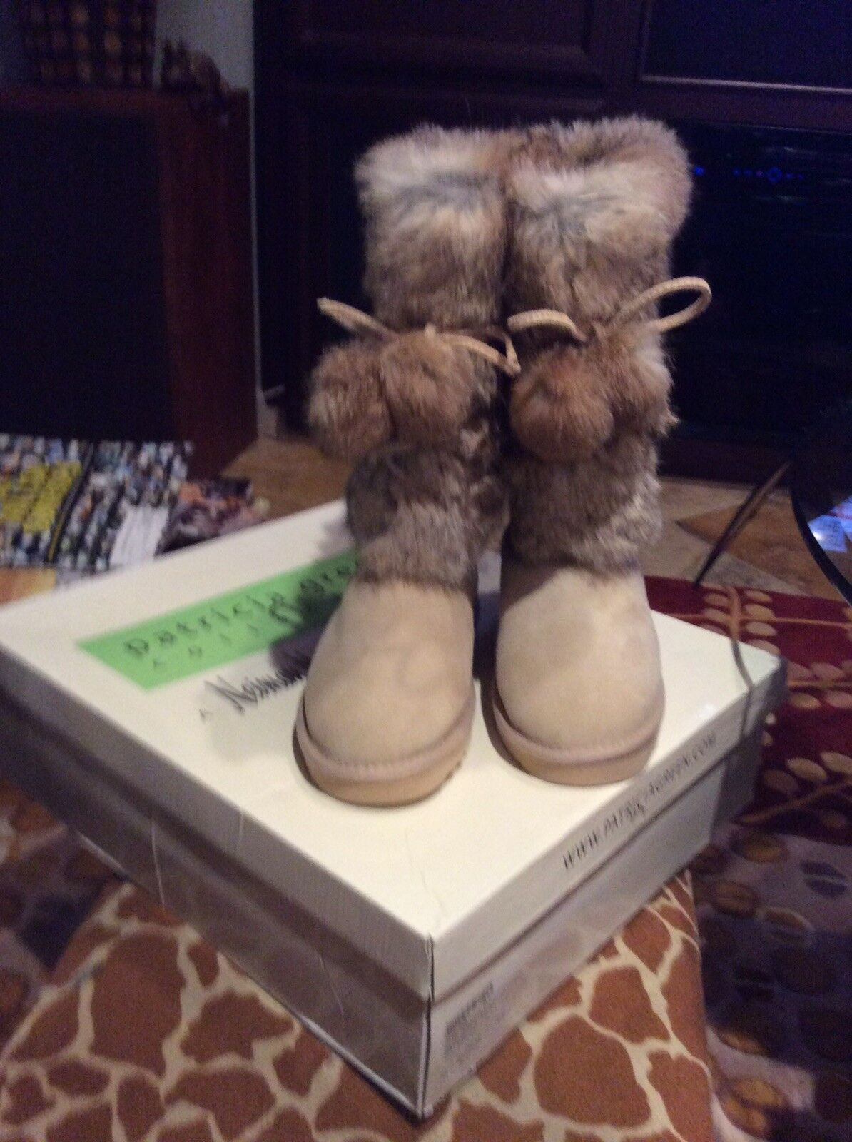 PATRICIA GREEN NEIMAN MARCUS SUEDE FUR POM BOOTS, SHEARLING INSIDE, NWB