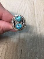Navajo Mens Turquoise L. Spencer Ring Size 12 Native American 1