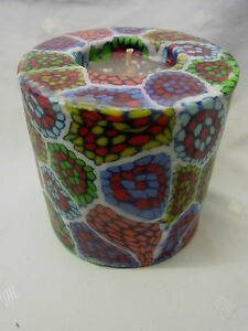 Swazi-Kerze-Blumenmuster-Aboriginal-dream-Afrika-Fair-Trade-Durchmesser-9-cm