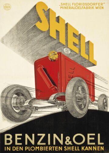 1925 Vintage Automobile Motor Car Art Deco Poster Shell Benzin /& Oil Germany