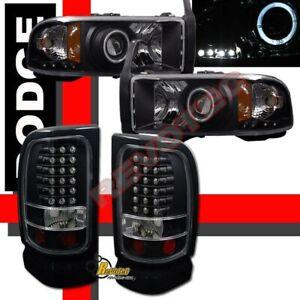 94-01-Dodge-Ram-1500-2500-3500-Black-Halo-Projector-Headlights-LED-Tail-Lights