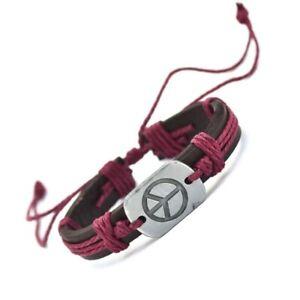 Genuine-Leather-Adjustable-Bracelets-Hippy-Spiritual-PEACE-Symbol-Red-Rope