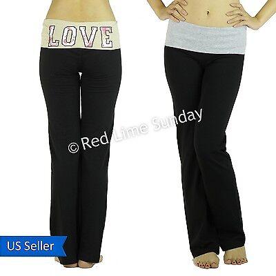 Fold Over Waist Love Print Yoga Pants Leggings Gym Workout Fitness Sweatpants