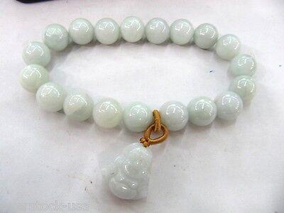 J.Lee Certified A Grade Jade (jadeite) 8mm Round Bead Bracelet /Buddha