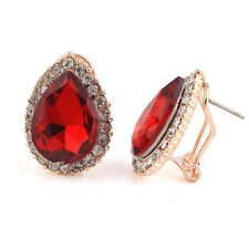 Amazing Deep Red Teardrop With Rhinestones Studs Crystal Earrings E537