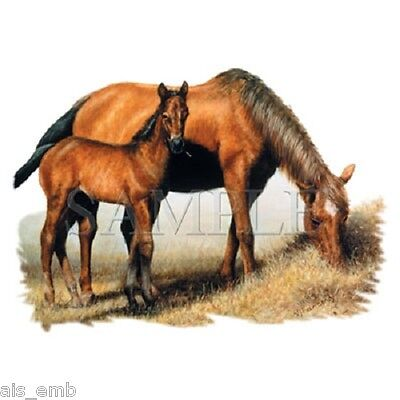 Mare & Foal HEAT PRESS TRANSFER for T Shirt Tote Sweatshirt Quilt Fabric 240s