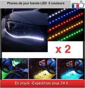 2 bandes led phares de jour tuning int rieur bande led 30 cm 5 couleurs ebay. Black Bedroom Furniture Sets. Home Design Ideas