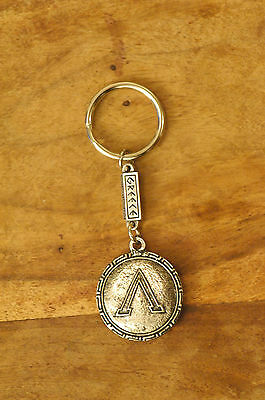 Ancient Greek Themed Keyring Key Chain Spartan Shield 300 Silver Zamac Closed L