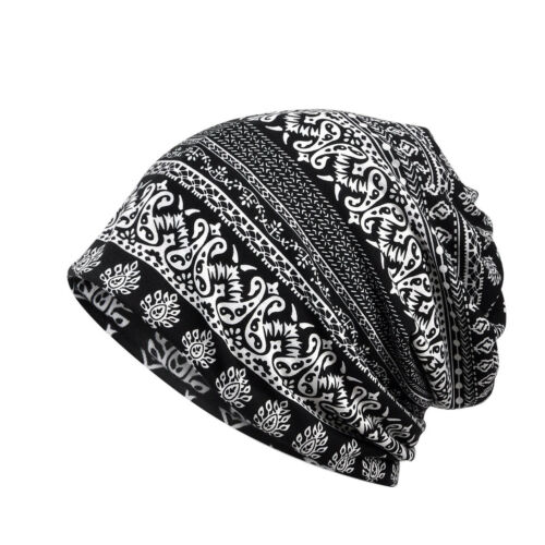 Men Women Paisley Floral Baggy Slouchy Stretch Beanie Cap Neck Scarf Multi-Use