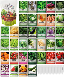 Survival Vegetable Seeds Garden Kit Over 16,000 Seeds Non-GMO and Heirloom, Grea