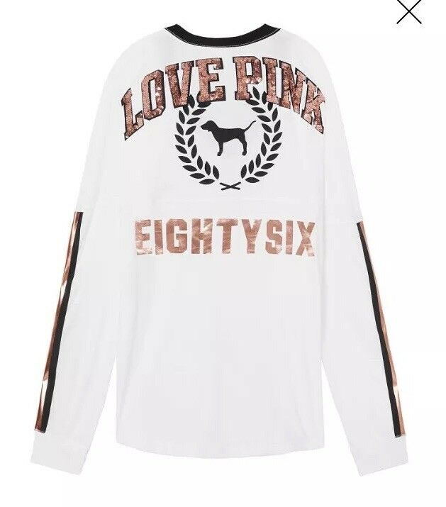 NEW Victoria's Secret BLING BLING BLING PINK Long Sleeve pink gold Sequin SMALL NWT CREW S a85814