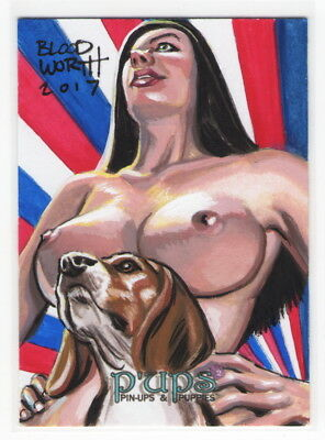 Art Genteel 2017 5finity P'ups Pin-ups & Puppies Series 2 Mark Bloodworth Sketch Card #3/3