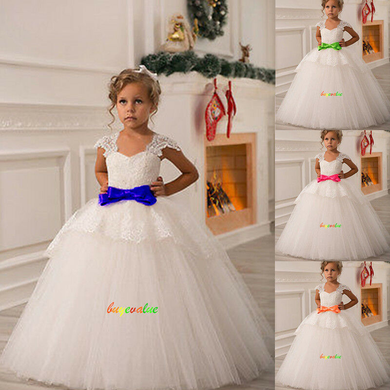 2 14 robes de fille robe enfant robe filles fleurs mariage blanc ivoire custom g ebay. Black Bedroom Furniture Sets. Home Design Ideas
