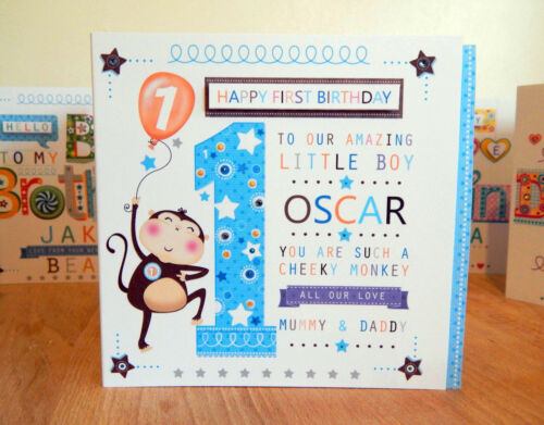 Baby Boy First Birthday Card Personalised 1st Birthday Boy Monkey
