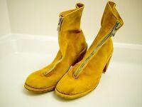 GUIDI yellow buffalo leather front zip boots Size 37 UK 4 BRAND NEW
