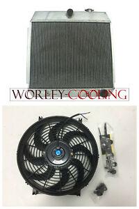 3-Row-for-Chevy-Bel-Air-V8-W-Cooler-1955-1956-1957-Aluminum-Radiator-amp-14-034-FAN