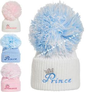 BABY BOYS GIRLS KNITTED POMPOM HATS NEWBORN 0-3 MONTHS BOBBLE CAP wool