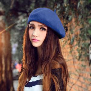 Femme-fille-beret-chapeau-reel-laine-hiver-plaine-chapeaux-dame-doux-beret-tasse