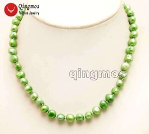 8-9mm-Green-Baroque-Natural-Freshwater-Pearl-Chokers-Necklace-for-Women-17-039-039