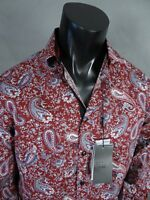 Men's Coogi Luxe Button Dress Shirt Rich Burgundy Paisley's Print Black Trim