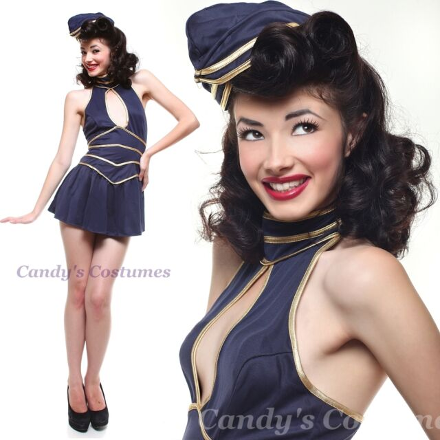 Pin-up AIR HOSTESS Stewardess COSTUME Flight Attendant UNIFORM Dress HAT Navy