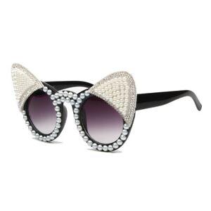 6b0bc258f07 Image is loading 2019-Luxury-Cat-Eye-Sunglasses-Women-Exquisite-Pearls-